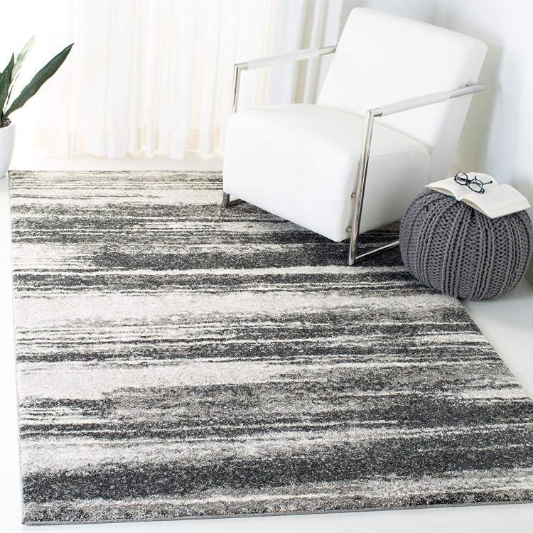 Contemporary Rug - Retro Polypropylene -Dark Grey/Light Grey