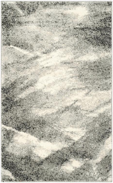 Retro Grey/Ivory Square Rug