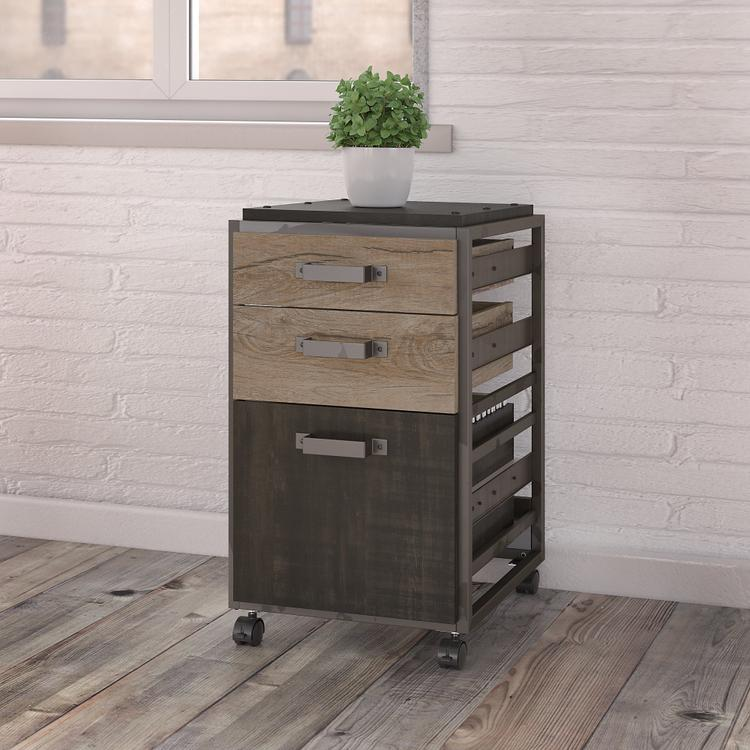 Bush Furniture Refinery 3 Drawer Mobile File Cabinet