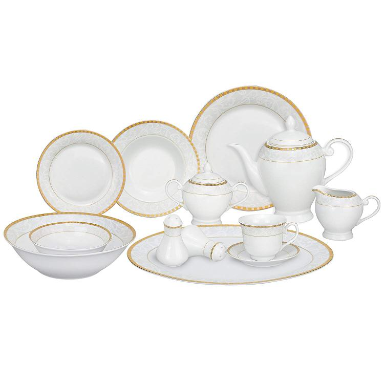 57 Piece Porcelain Dinnerware Set, Service for 8 by Lorren Home Trends