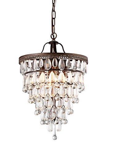 Warehouse of Tiffany Martinee Antique Bronze and Crystal Inverted Pyramid Chandelier