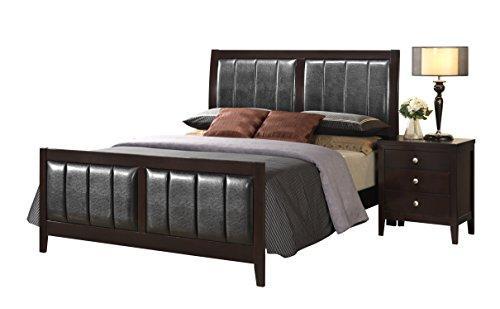 Global Furniture King Bed Antique Black/Black Pu