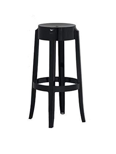 Commercial Seating Products Black Polycarbonate Bar Height Backless Kage Stool - 30''H