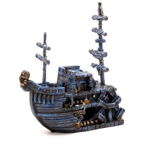 Penn Plax Deco-Replicas? Sunken Pirate Treasure Ship - Medium Bow
