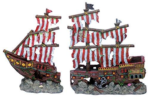 Penn Plax Deco-Replicas? Striped Sail Shipwreck Set - Largelarge