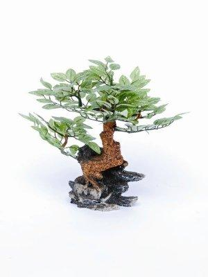 Bonsai Tree On Rock W/ Silk Leaves  10