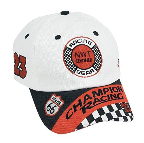 Jr. Champion Racing, CAP ONLY, BLACK/WHITE, Adj Youth Size