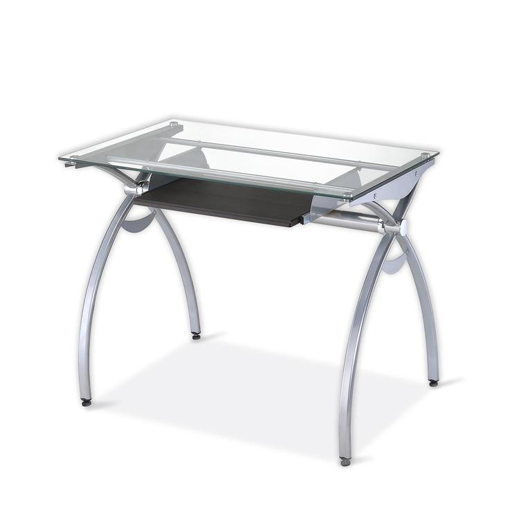Techni Mobili Contempo Clear Glass Top Computer Desk With Pull Out Keyboard Panel
