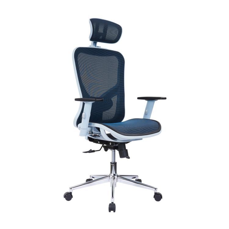 The Techni Mobili High Back Executive Mesh Office Chair with Arms, Headrest and Lumbar Support, Blue