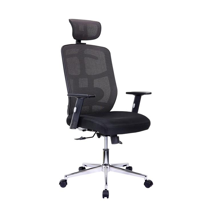 Techni Mobili High Back Executive Mesh Office Chair with Arms, Lumbar Support and Chrome Base, Black