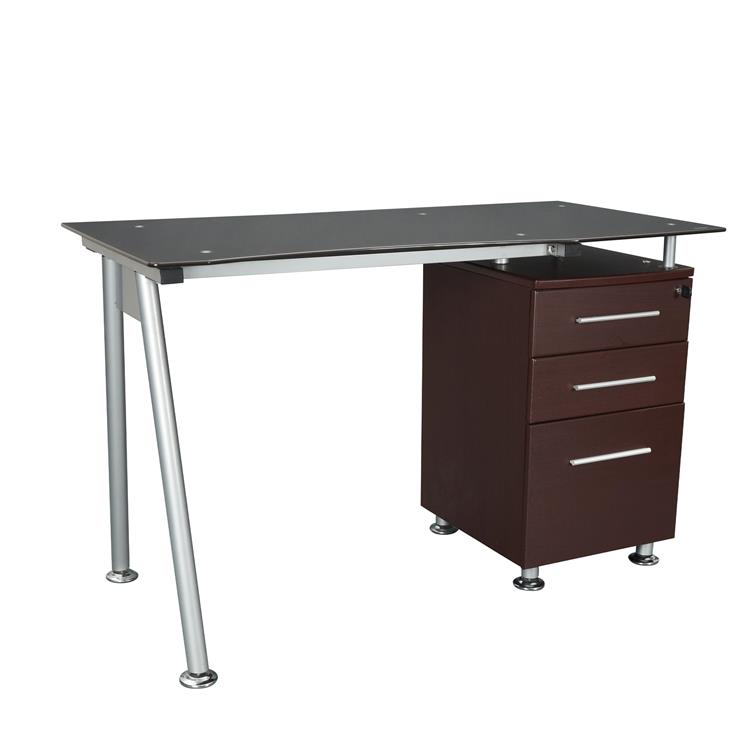 Techni Mobili Stylish Tempered Glass Top Computer Desk With Storage