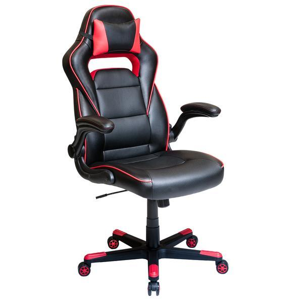 Techni Mobili Height Adjustable Office Chair with Detachable Headrest Pillow and Flip Up Arms, Red