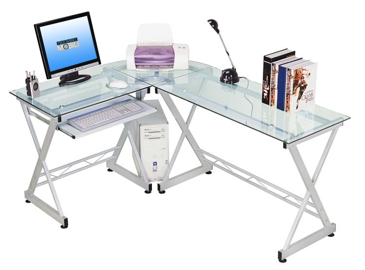 Techni Mobili Deluxe L-Shaped Tempered Frosted Glass Top Computer Desk With Pull Out Keyboard Panel