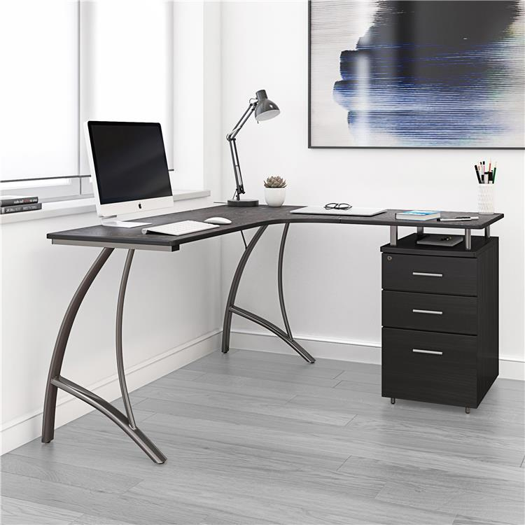 Techni Mobili Modern L- Shaped Computer Desk With File Cabinet And Storage