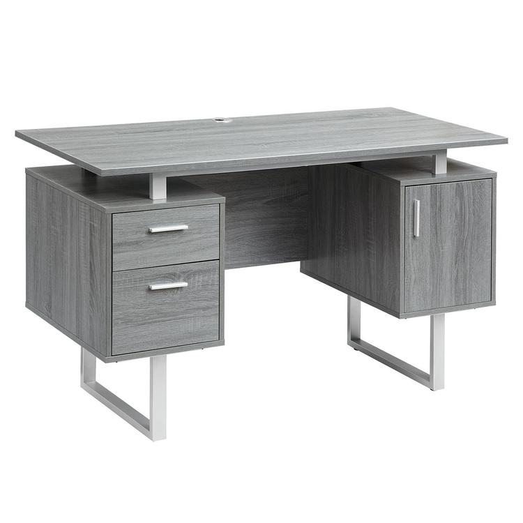 Techni Mobili Modern Glass Top Office Desk With Storage