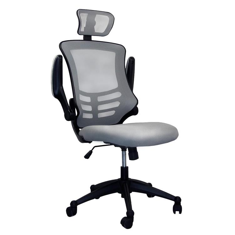 Techni Mobili Modern High-Back Mesh Executive Office Chair With Headrest And Flip Up Arms [Item # RTA-80X5-SG]