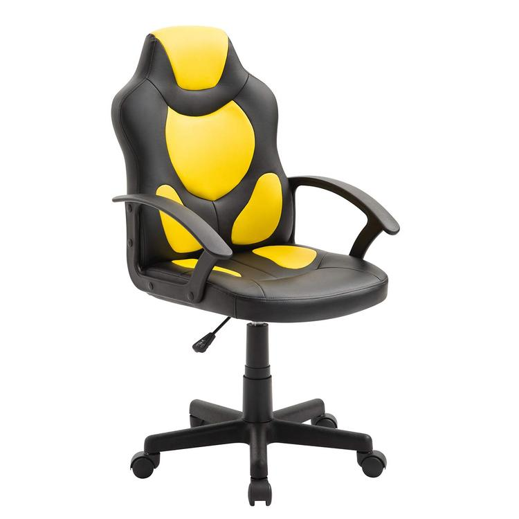 Techni Mobili Kid's Gaming and Racing Chair with Wheels, Yellow