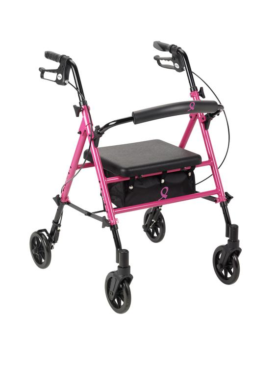 Breast Cancer Awareness Adjustable Height Rollator Rolling Walker, Pink