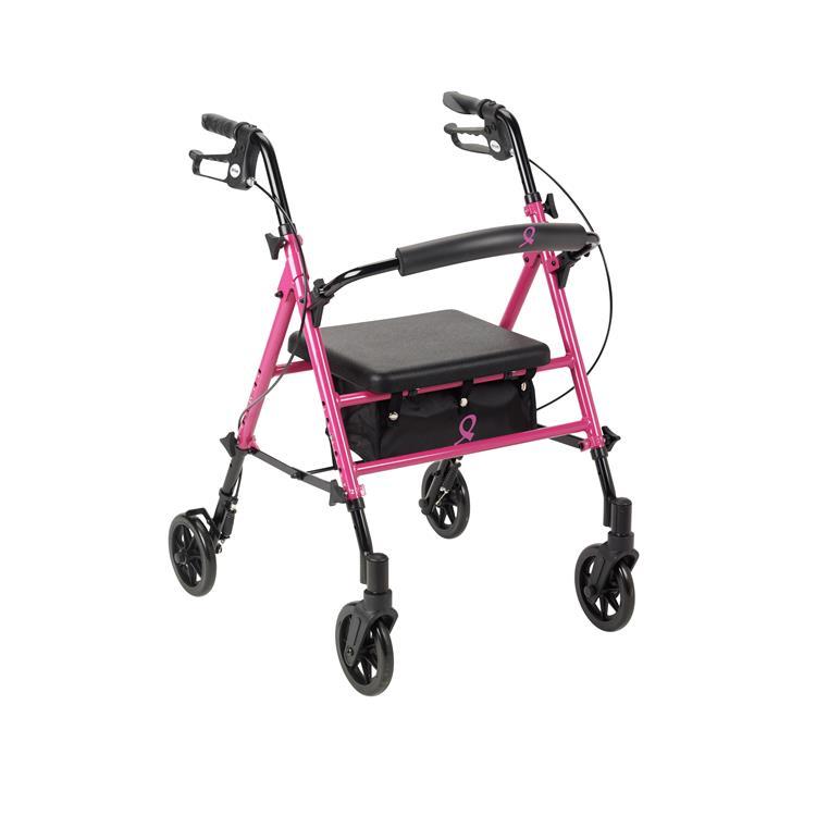 Drive Medical Breast Cancer Awareness Adjustable Height Rollator Rolling Walker [Item # rtl10261bc]