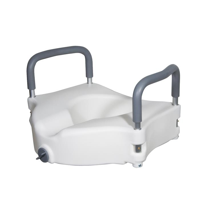 Drive Medical Elevated Raised Toilet Seat with Removable Padded Arms [Item # RTL12027RA]