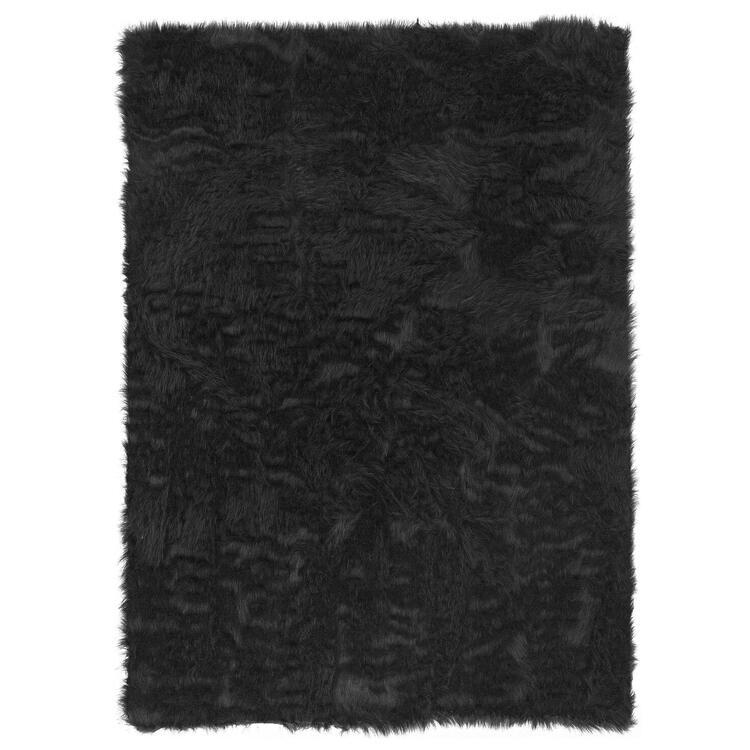 Linon Faux Sheepskin Black 5 x 7