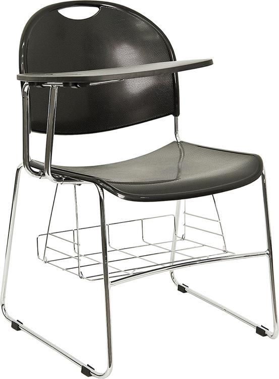 Flash Furniture Plastic Chair With Right Handed Flip-Up Tablet Arm And Book Basket
