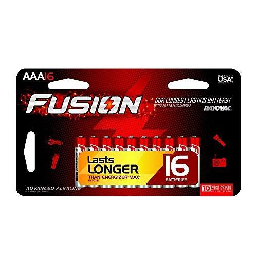 RAYOVAC 824-16SCTFUS FUSION Long-Lasting Alkaline Batteries (AAA, 16 pk)