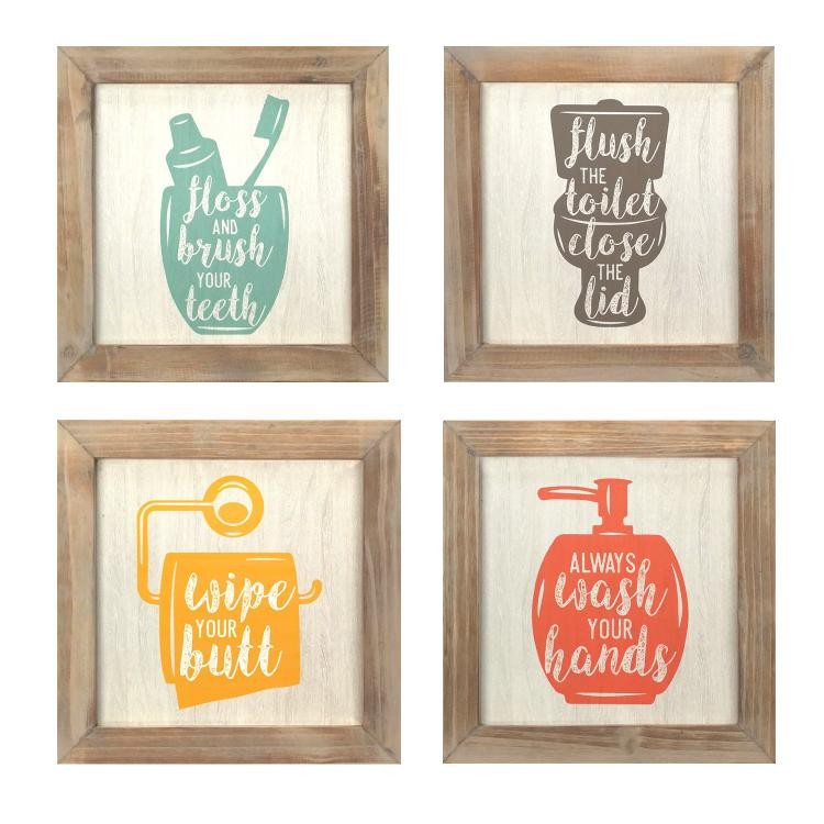 Stratton Home Décor Floss, Flush, Wipe, Wash Wall Art - Set of 4