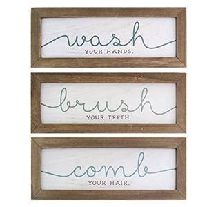Stratton Home Decor Set of 3 Wash, Brush, Comb Bath Art
