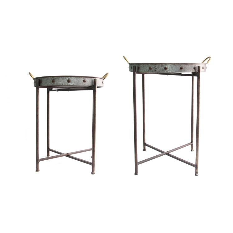 Stratton Home Decor  Set of 2 Metal Tray Tables