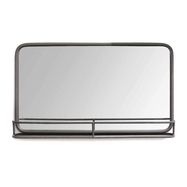 Stratton Home Décor Mason Metal Mirror with Shelf
