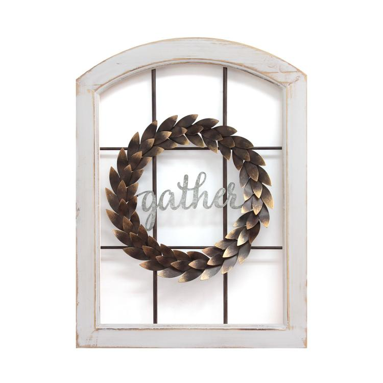 Stratton Home Décor Decorative Window & Wreath Wall Decor