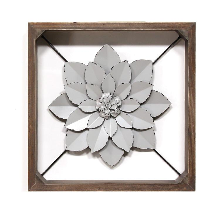 Stratton Home Décor Grey Framed Metal Flower