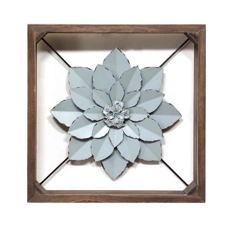 Stratton Home Décor Blue Framed Metal Flower