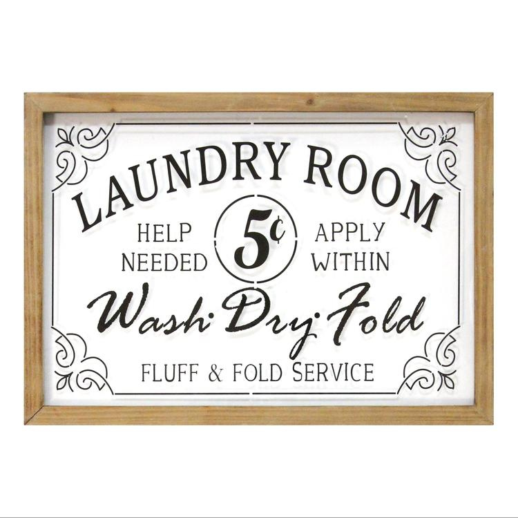 Stratton Home  Vintage Laundry Room Framed Glass Wall Art