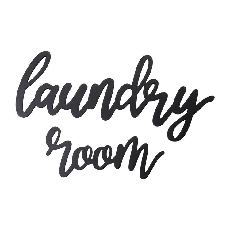 Stratton Home  Wood Laundry Room Script Wall Décor