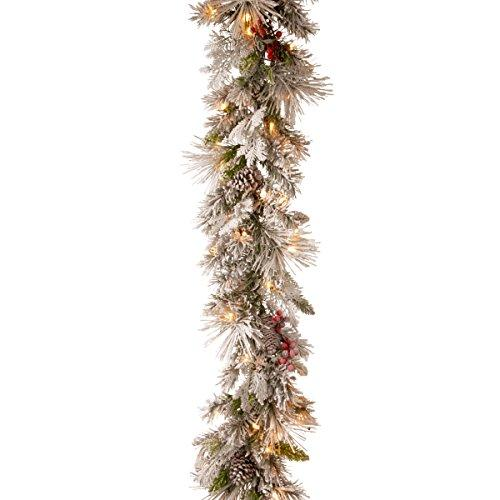National Tree Snowy Bedford Pine Garland with Battery Operated LED Lights