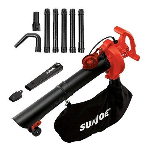 Sun Joe SBJ606E-GA-RED 4-in-1 Electric Blower | 250 MPH · 14 Amp | Vacuum · Mulcher · Gutter Cleaner (Red)