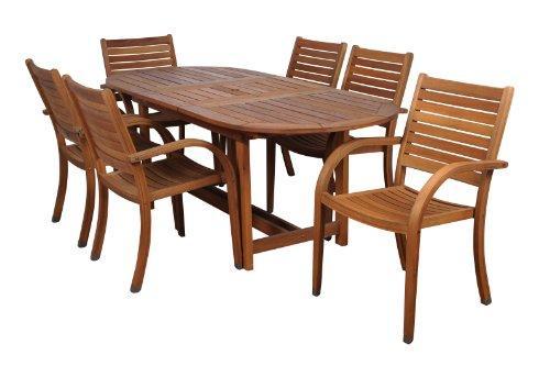 Amazonia Arizona 7 Piece Oval Outdoor Extendable Dining Set