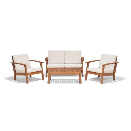 Murano 4 Piece Eucalyptus Conversation Set with Off-White Cushions