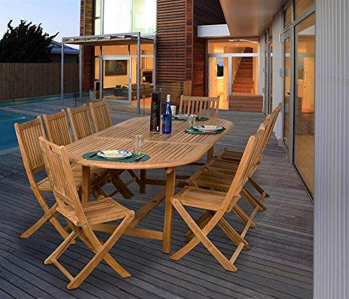 Bergen 11 Piece Teak Extendable Oval Patio Dining Set