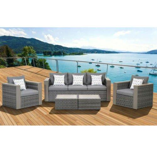 Cebu 5 Piece Wicker Patio Conversation Set Grey with Grey Cushions