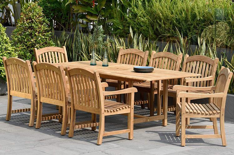 International Home Miami Newcastle 9 Piece Teak Extendable Rectangular Patio Dining Set