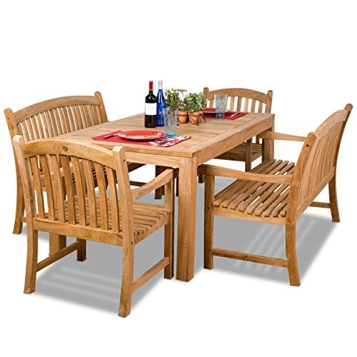 Geneve 5 Piece Teak Rectangular Patio Dining Set