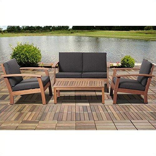 Murano 4 Piece Eucalyptus Patio Conversation Set with Black Cushions