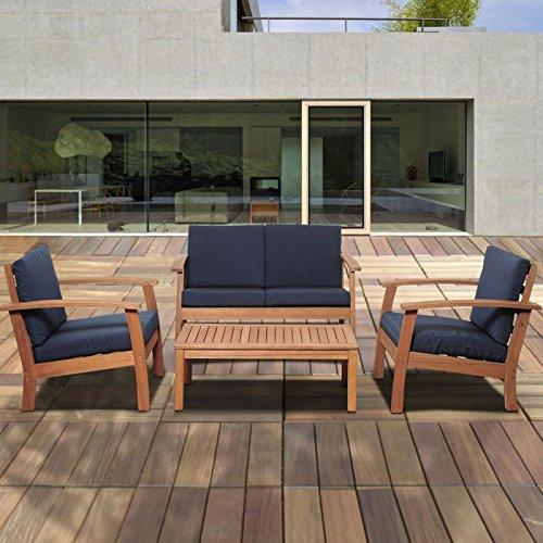 International Home Miami Murano 4 Piece Eucalyptus Patio Conversation Set with Blue Cushions