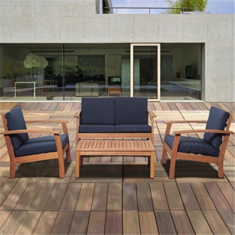 Murano 4 Piece Eucalyptus Patio Conversation Set with Blue Cushions