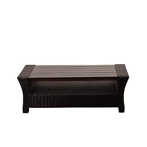Atlantic Staffordshire Black Wicker Coffee Table with Plastic Wood Top