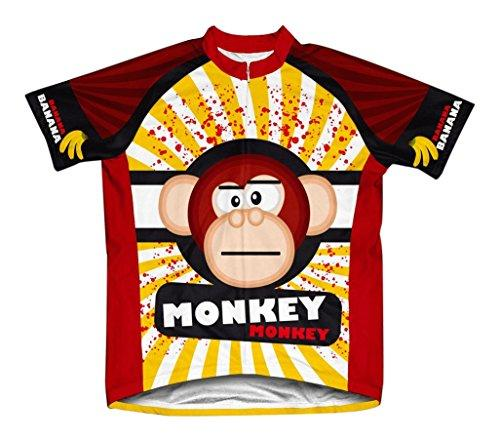 Crazy Banana Monkey Microfiber Short-Sleeved Cycling Jersey, XL