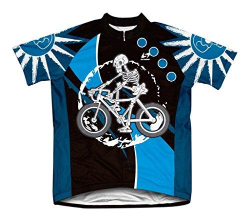 Skeleton Biker Microfiber Short-Sleeved Cycling Jersey, XL